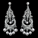 Elegance by Carbonneau E-963-S-WH Elegant White Pearl & Crystal Chandelier Earrings 963