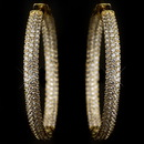 Elegance by Carbonneau E-9727-G-CL Gold Clear 3 Row CZ Crystal Pave Hoop Earrings