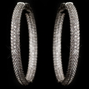 Elegance by Carbonneau E-9727-RD-CL Rhodium Clear 3 Row CZ Crystal Pave Hoop Earrings