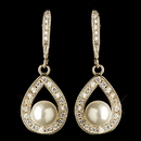 Elegance by Carbonneau E-9745-G-DW Gold Clear CZ Crystal Teardrop & Diamond White Pearl Accent Drop Earrings 2843