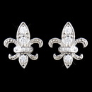 Elegance by Carbonneau E-9991-SS-Clear Solid 925 Sterling Silver CZ Crystal Fleur De Lis Stud Earrings 9991