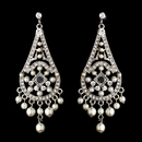 Elegance by Carbonneau Earring-E-957silver Vintage Chandelier Pearl Dangle Earrings E 957