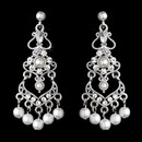 Elegance by Carbonneau E-958-S-White Elegant White Pearl & Crystal Chandelier Earrings E 958