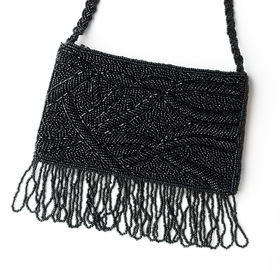 Elegance by Carbonneau EB-100-Black Wonderful Black Satin Glass Bead Fringe Evening Bag 100