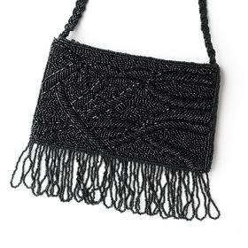 Elegance by Carbonneau EB-100-Black Wonderful Black Satin Glass Bead Fringe Evening Bag 100