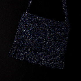 Elegance by Carbonneau EB-100-Navy Wonderful Navy Satin Glass Bead Fringe Evening Bag 100