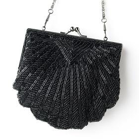 Elegance by Carbonneau EB-101-Black Elegant Ivory Beaded Shell Evening Bag 101