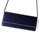 Elegance by Carbonneau EB-210-Navy Ravishing Navy Satin Clear Rhinestone Evening Bag 210