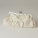 Elegance by Carbonneau EB-301-Champagne Champagne Matte Satin Beaded Bow Tie Bridal Evening Bag 301