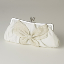 Elegance by Carbonneau EB-301-White White Matte Satin Bridal Beaded Bow Tie Evening Bag 301
