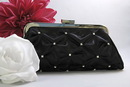 Elegance by Carbonneau EB-303-Black Black Satin Rhinestone Evening Bag 303