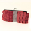 Elegance by Carbonneau EB-307-Red Red Satin Ruffle Evening Bag 307 with Rhinestone Banding