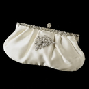 Elegance by Carbonneau EB-309-Brooch-205 Rhinestone Accented Vintage Frame Satin Evening Bag 309 with Antique Silver Clear Floral Brooch 205