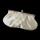 Elegance by Carbonneau EB-309-Brooch-41 Rhinestone Accented Vintage Frame Satin Evening Bag 309 with Ivory Beaded Flower Pearl Brooch 41