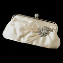 Elegance by Carbonneau EB-315-Brooch-16 Satin Crystal Evening Bag 315 with Silver Clear Floral Crystal Brooch 16