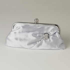 Elegance by Carbonneau EB-315-Silver Silver Satin Crystal Evening Bag 315