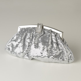 Elegance by Carbonneau EB-321-Silver Silver Sequin & Rhinestone Evening Bag 321