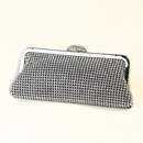 Elegance by Carbonneau EB-327-Silver Silver Crystal Evening Bag 327 with Silver Frame & Shoulder Strap