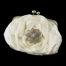 Elegance by Carbonneau EB-329-Brooch-156 Silver Frame & Shoulder Strap Floral Rose Evening Bag 329 with Silver Clear Rhinestone Floral Starfish Brooch 156