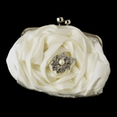 Elegance by Carbonneau EB-329-Brooch-208 Silver Frame & Shoulder Strap Floral Rose Evening Bag 329 with Antique Silver Clear Rhinestone & Diamond White Pearl Accent Brooch 208