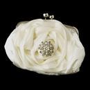 Elegance by Carbonneau EB-329-Brooch-30 Silver Frame & Shoulder Strap Floral Rose Evening Bag 329 with Pearl & Rhinestone Brooch 30