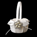 Elegance by Carbonneau FB-17-Brooch-117-A-Pearl Flower Girl Basket 17 with Antique Silver Floral Star Pearl Brooch 117