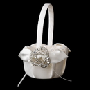 Elegance by Carbonneau FB-17-Brooch-20-A-Clear Flower Girl Basket 17 with Antique Silver Clear Brooch 20