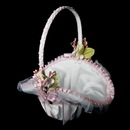 Elegance by Carbonneau fb-4-White-Pink Flower Basket 4 White with Pink Accent