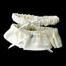 Elegance by Carbonneau Garter-206-Ivory Ivory Matt Satin Garter with Crystal Blue Heart 206