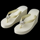 Elegance by Carbonneau High-Wedge-Brooch-185 Flower Rhinestone High Wedge Flip Flops