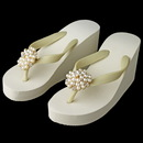 Elegance by Carbonneau High-Wedge-Brooch-31-G-IV Gold Flower Cluster Rhinestone & Pearl High Wedge Flip Flops