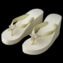 Elegance by Carbonneau High-Wedge-Brooch-93-G-CL Gold Starfish Rhinestone High Wedge Flip Flops