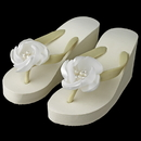 Elegance by Carbonneau High-Wedge-Clip-105 Flower High Wedge Flip Flops with Rhinestone & Pearl Accents