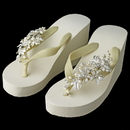 Elegance by Carbonneau High-Wedge-Clip-109 Floral Vine High Wedge Flip Flops with Rhinestone & Freshwater Pearl Accents