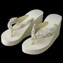 Elegance by Carbonneau High-Wedge-Clip-1932 Floral Vine High Wedge Flip Flops with Crystal Accents