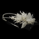 Elegance by Carbonneau HP-1655-AS-Ivory Antique Silver Ivory Pearl & Clear Rhinestone Floral Feather Fabric Side Accented Bridal Feather Headband Headpiece 1655