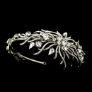 Elegance by Carbonneau HP-1782-AS-Clear Antique Silver Clear Multi Cut Rhinestone Spiral Side Accented Bridal Headpiece 1782