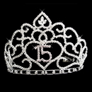 Elegance by Carbonneau HP-253-Silver-Clear Brilliant Sweet 15 Quincea?era Rhinestone Covered Tiara in Silver with 253