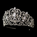 Elegance by Carbonneau HP-394-AS-Clear Antique Silver Clear Rhinestone & Center CZ Crystal Royal Princess Tiara Headpiece 394