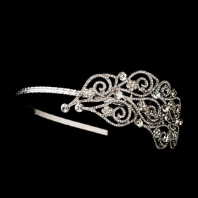 Elegance by Carbonneau HP-397-AS-Silver Antique Silver Side Accented Headpiece HP 397