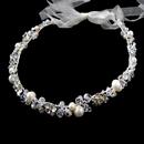 Elegance by Carbonneau HP-4360-S-IV Freshwater Pearl, Rhinestone & Swarovski Crystal Bead Ivory Sheer Ribbon Headband 4360