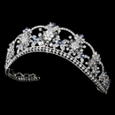 Elegance by Carbonneau HP-523-Silver-Light-Blue Sparkling Rhinestone & Swarovski Crystal Covered Tiara with Light Blue Accents in Silver 523