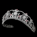 Elegance by Carbonneau HP-523-Silver-Light-Pink Sparkling Rhinestone & Swarovski Crystal Covered Tiara with Light Pink Accents in Silver 523