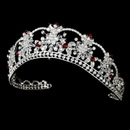 Elegance by Carbonneau HP-523-Silver-Red Sparkling Rhinestone & Swarovski Crystal Covered Tiara with Red Accents in Silver 523