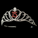 Elegance by Carbonneau HP-7032-Silver-Red-15 Sparkling Red Majestic Quincea?era Rhinestone Tiara in Silver 7032