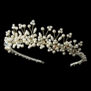 Elegance by Carbonneau HP-727-G Lt Gold Plated Pearl and Swarovski Bridal Tiara HP 727