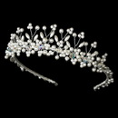 Elegance by Carbonneau HP-727-S-Ivory Silver Plated and Ivory Pearl Swarovski Bridal Tiara HP 727