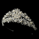 Elegance by Carbonneau HP-7825-S-FW Swarovski and Freshwater Pearl Bridal Tiara HP 7825