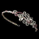 Elegance by Carbonneau HP-8101-S-Pink Pink Crystal Bridal Tiara Headband with Side Ornament HP 8101