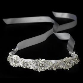 Elegance by Carbonneau HP-8362 Vintage Ribbon Bridal Headband with Rhinestone Accents HP 8362